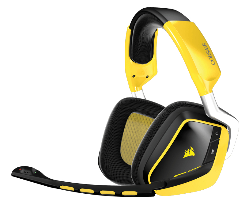 Corsair Audífonos Gamer VOID Wireless Dolby 7.1 RGB, Inalámbrico, Amarillo/Negro